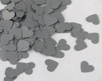 CLEARANCE - Confetti hearts 200 pcs - gray silver -  cardboard party wedding scrapbook crafts
