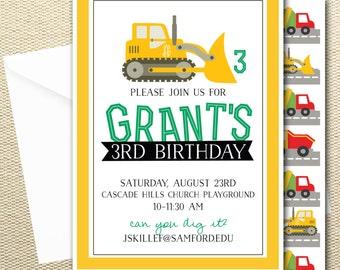 Tractor Birthday Invitation-Boys Party
