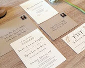 Simple Rustic Leaf Branch Wedding Invitation Set