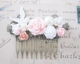 Light Pink Wedding Hair Comb Bridal Hair Accessories Blush White Flower Bridesmaids Hair Pin Romantic Soft Pastel Dreamy Vintage Style PM