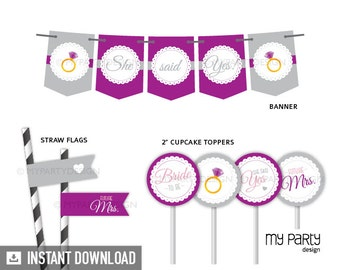 Bridal Shower Party Pack - Engagement Party - Scalloped Theme Purple - INSTANT DOWNLOAD - Printable PDF