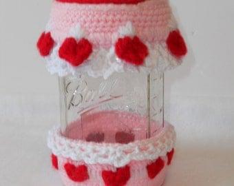 Canning jar Hat and Cozy, basket set with jar
