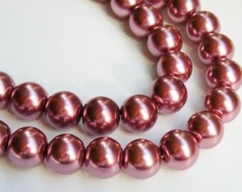 Dark Dusty Rose Mauve glass pearl beads round 14mm full strand 1752GL