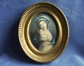 Vintage French Padded Silk Picture in Gilt Frame Mother & Daughter
