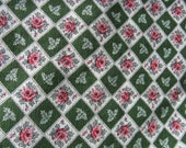 pink rose barkcloth pink and green diamond pattern mid century 35 by 50 inches