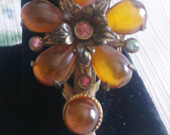Jelly Amber with Rhinestones make this Flower Brooch Stunning