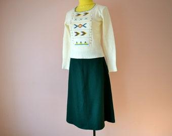 Green A Line Skirt. Dirndl. Warm Skirt. Oktoberfest.  Modern Size Small Medium  - VDS129