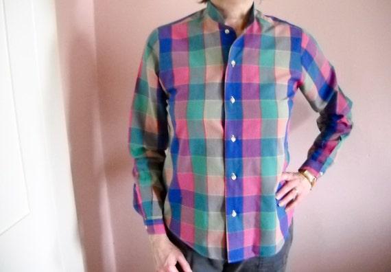 Preppy Plaid Plaid Blouse.  Blue Pink Green Plaid Shirt. Ms Sero Poplin Button Front Shirt Modern Size Medium 8 / Large - VTB11