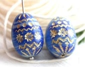 Easter eggs, czech glass beads, Striped Blue glass beads, Bird eggs, Easter decoration, Blue and Gold, oval beads, 20mm - 2Pc - 1916