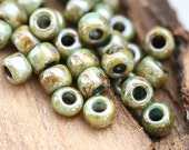 TOHO Seed beads, size 6/0, Hybrid Opaque Luster - Transparent Green, Y182, round, japanese glass - 6g - S414