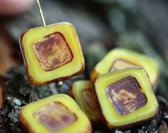Czech Picasso beads, Yellow Square beads - Yellow Brown glass beads, table cut, squares - 14mm - 4Pc - 0347