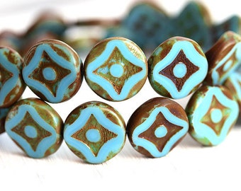 Coin beads, Czech picasso beads - Turquoise Blue glass table cut round beads - 15mm - 4Pc - 1259