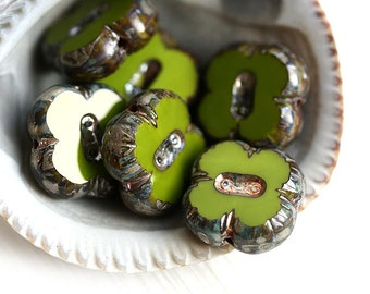 Olive green Picasso beads, Czech glass beads, Olivine, Clover shape, flat square, table cut - 12mm - 6Pc - 0663