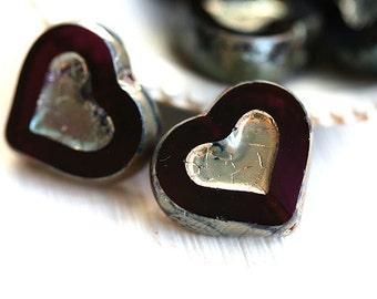 Purple Heart beads, Picasso beads, dark purple czech glass beads, table cut, glass heart - 14mm - 6Pc - 0216