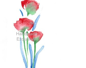 Handpainted Greeting card,  Watercolor Card, Spring flower, tulips, pink, Easter, valentine's day, Blank, under 10, Handmade Exclusives
