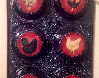 Rooster UpCycled Muffin Tin. Kitchen Decor. Housewarming  Gift Country Kitchen Home Decor Chickens Rooster Lover Country Decor