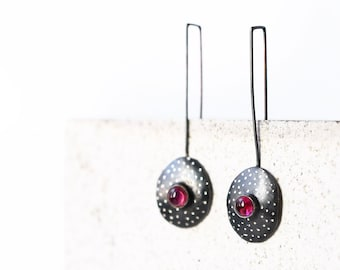 Pink tourmaline earrings - October birthstone jewelry - Pink and black earrings - oxidized silver earrings - Dangle earrings