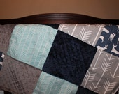 Navy Deer, Aqua Herringbone, Gray Arrows, Navy Minky, and Gray Minky Patchwork Blanket