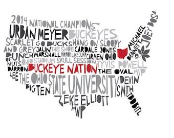 OHIO State Buckeye Nation 2014 National Champions Print 10X8