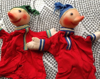 2 Vintage Hand Puppets Plastic Heads