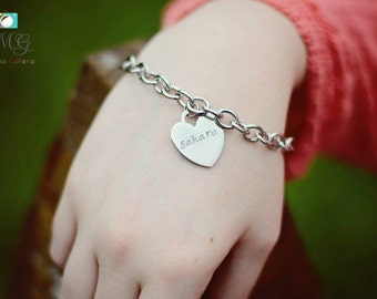 Stamped Bracelet Silver Heart Bracelet Hand Stamped Jewelry Personalized Bracelet Custom Bracelet Personalized Jewelry Mother's Day Gift