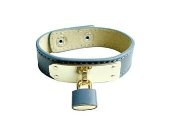 Genuine Leather Lock Bracelet - Gray