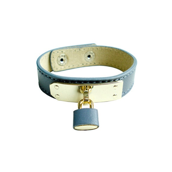 Genuine Leather Lock Bracelet - Gray