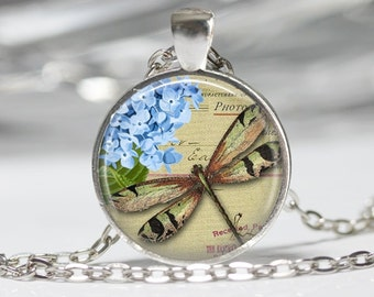 Dragon Fly Necklace Drogan Fly Jewelry French Post Card Glass Necklace Dragon Fly with Hydrangea