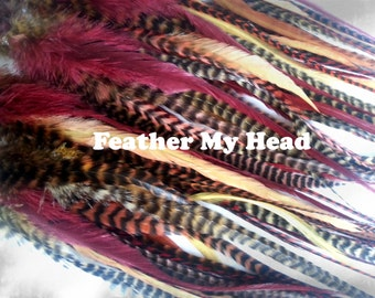 """15 Pc Wide Accent Feather Hair Extenions 7"""" to 11"""" Inches Long Brown Tones"""