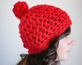 Beanie Hat with Pom Pom - Crochet - Super Bulky  - Select Color