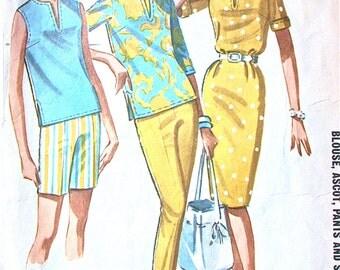 "McCalls Separates Pattern No 6653 Vintage 1960s Size 16 Bust 36"" Slim Skirt Straight Leg Pants Shorts Blouse Top Shirt"