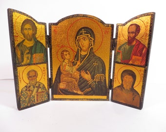 Pretty Gold Decoupaged Tryptych Icon - Vintage Madonna and Child Triptych