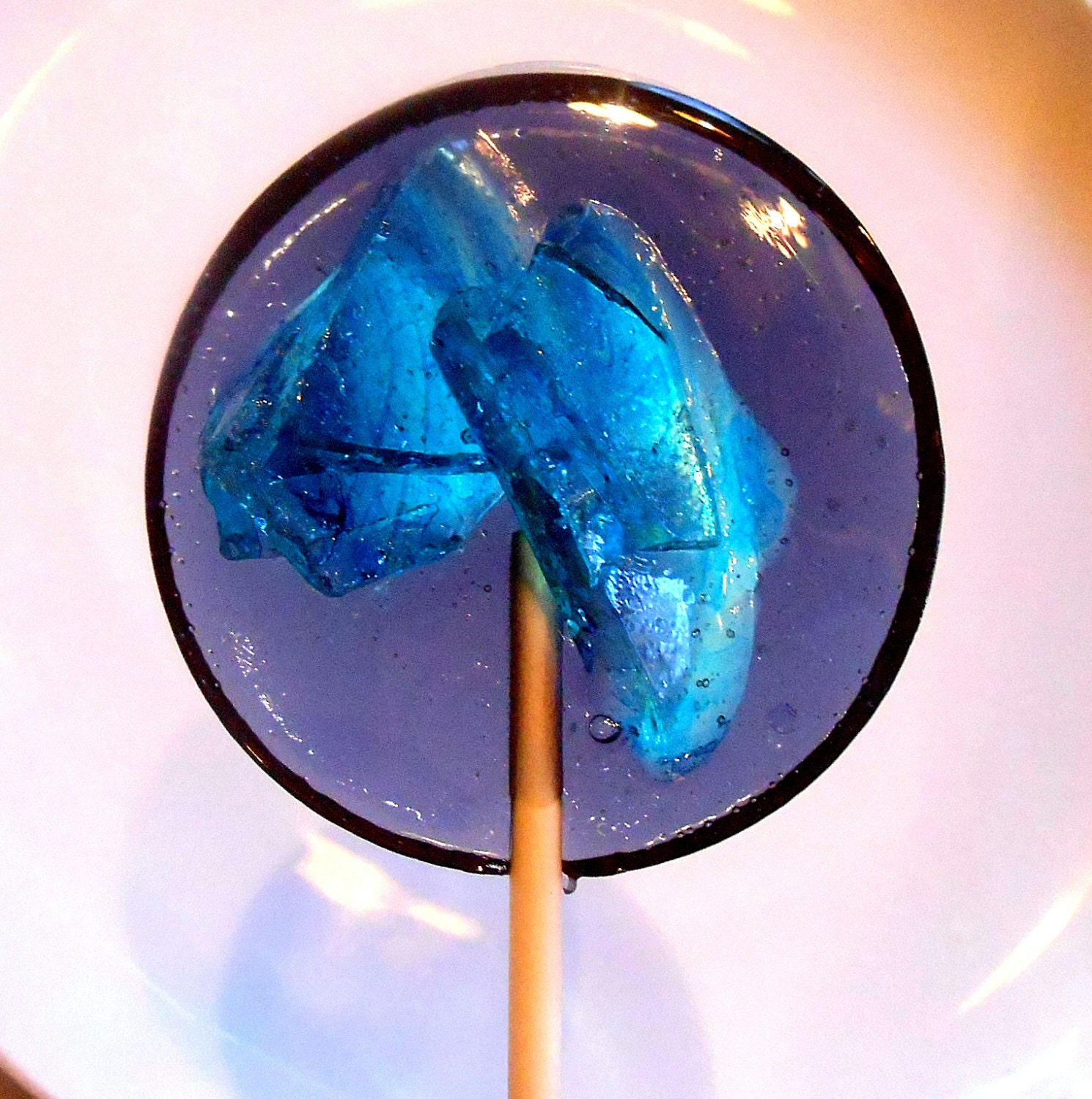 Sugar Bakers Blueberry Edible Blue Art Glass Stained