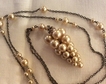 Art Deco Sterling silver & Faux Pearl Grape Cluster Long Necklace