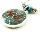 Orgone Energy Small Reversible Pendant in Silver with Turquoise Gemstones - Orgone Jewelry - Artisan Jewelry