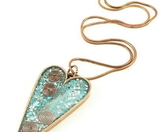 Orgone Energy Pendant - Large Antiqued Copper Heart - Blue with Turquoise Gemstone - Artisan Jewelry