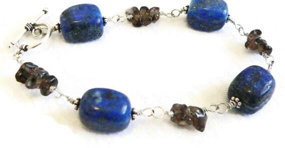 Lapis Lazuli and Smoky Quartz Wire Wrapped Gemstone Bracelet - Chunky Bracelet - Sterling Silver - Artisan Jewelry