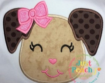 Girl Puppy Head Machine Embroidery Applique Design Buy 2 for 4! Use Coupon Code 50OFF