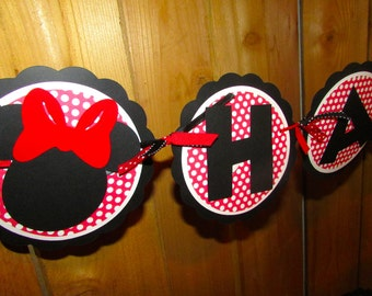 Minnie Mouse Birthday Banner Red and White Polka dot - Minnie Party