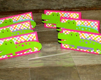 Alligator Treat Toppers Set of 12 blue, pink purple 4x6 treat bags