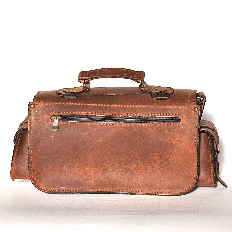 Medium Size Leather Camera Bag Women Men Chestnut Leather