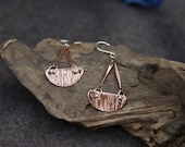 Handmade textured copper and sterling silver earrings - READY TO SHIP