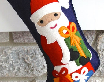 Handmade Wool Felt Christmas Stocking: Celebrate with Santa with Presents at the Holidays!