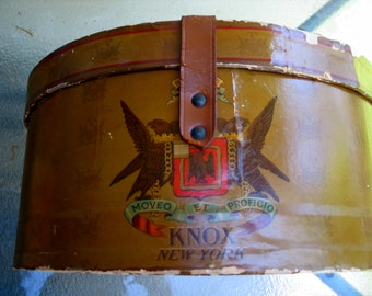 Vintage very old men's KNOX hat box with leather strap