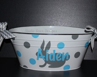 Personalized Easter Oval Metal Tub / Easter Bucket -  Assorted Colors Available