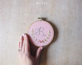 Floral Alphabet Embroidery Hoop Art on Cottage Pink Pin Dot