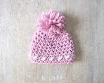 Oslo Winter Hat in Pink Cross Stitch