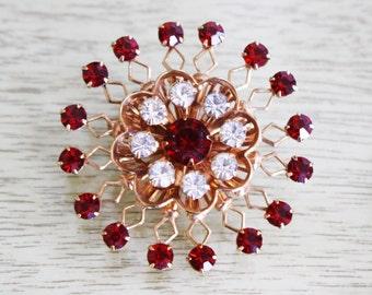 Vintage Red Rhinestone Atomic Sunburst Pin / Costume Jewelry Brooch