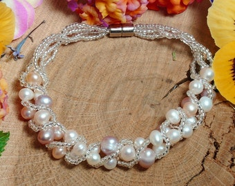 Freshwater Pearl Bracelet, White Pearls, Light Pink Pearls, and Lilac Mixed Pearl Bracelet, 7.5 inch Bracelet
