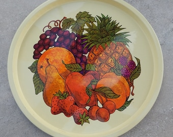 Metal Tray With Fruit  --  Made in England  --  Elite Trays of Great Britain  --  The Metal Tray Manufacturing Company  London  --  1975